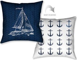 Navy Coastal Anchor Throw Pillow Laural Home Color: Navy