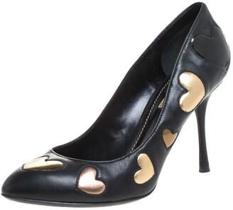 Dolce & Gabbana Dolce & Gabbanna Black Leather Heart Applique Pointed Toe Pumps Size 36.5
