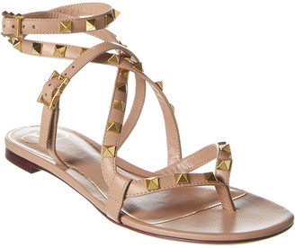 Valentino Rockstud Flair Leather Ankle Strap Sandal