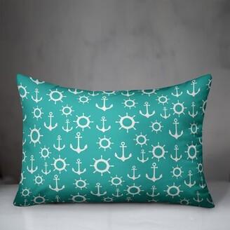 Erick Nautical Anchor Indoor/Outdoor Lumbar Pillow Breakwater Bay Color: Sea Green/White, Fill Material: No Fill