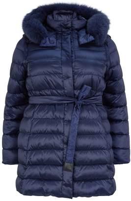 Marina Rinaldi Reversible Fox Fur-Trim Coat