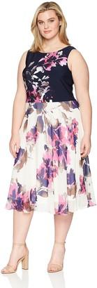 SL Fashions Women's Plus Size Sleeveless Printed Dress