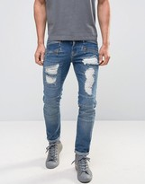 Asos Skinny Jeans In Biker Style With Rips