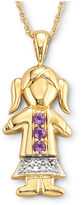 JCPenney FINE JEWELRY 18K Gold-Plated Sterling Silver Birthstone Girl Charm Pendant Necklace