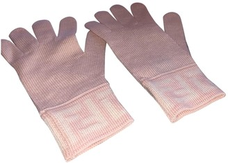 Fendi Pink Wool Gloves