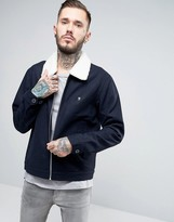 Farah Bomber Jacket With Fleece Collar In Navy Wool
