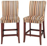 "Homelegance Sasha Upholstered 24"" Counter Stool Hardwood/Stripe (Set of 2)"