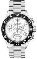 a・i・n Claude Bernard Women's 10210 3 AIN Aquarider Silver Chronograph Rotating Bezel Steel Watch