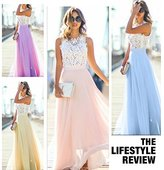Naomi 2017 Fashion Women Sexy Summer Lace Long Dress Evening Party Dress Sundress Chiffon Dress Sky blue M