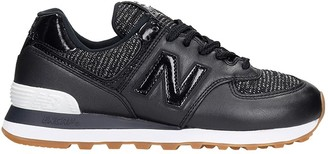 New Balance 574 Sneakers In Black Leather And Fabric