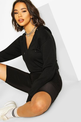 boohoo V Neck Cropped Toggle Hoodie