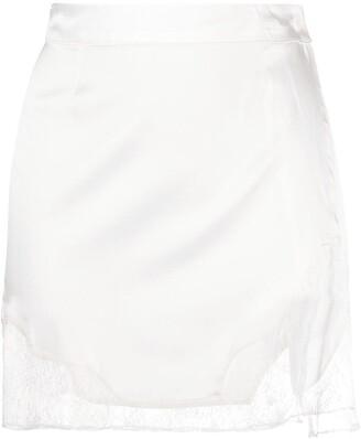 Almaz Lace-Insert Wrap Mini Skirt