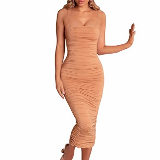 DISSA Women Burgundy Solid Sleeveless Sheath Dress Ruched Slip Dress Sexy Bodycon Midi Dresses Party Cocktail Business D283 6