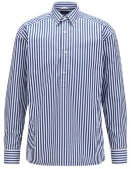 HUGO BOSS Relaxed Fit Shirt In Striped Cotton With Polo Placket - Light Blue