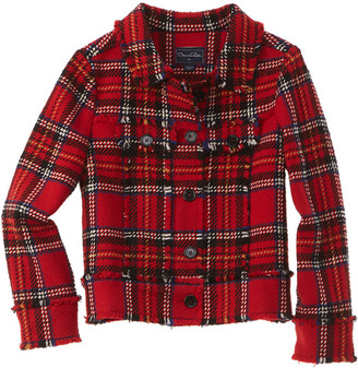 Oscar de la Renta Plaid Tweed Wool-Blend Jacket