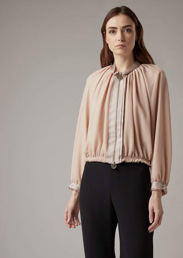 Giorgio Armani Blouson In Veil-Effect Knit With Silk Grosgrain Details
