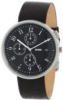 Alessi Men's Automatic Watch with Black Dial Analogue Display and Black Leather Bracelet AL6021