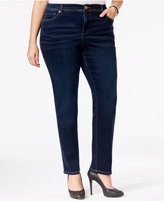 INC International Concepts Plus Size Tummy-Control Straight-Leg Medium Blue Wash Jeans, Only at Macy's