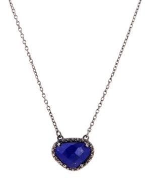 ADORNIA Organic Cut Lapis and Diamond Necklace