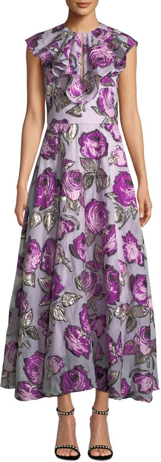 Lela Rose Ruffle-Front Sleeveless Metallic Rose Fil Coupe Tea-Length Dress