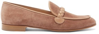 Gianvito Rossi Benny Leather-trimmed Suede Loafers - Beige
