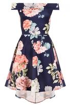 Quiz Navy And Coral Flower Print Bardot Dress