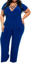 KAMA BRIDAL Womens V Neck Plus Size Bandage Casual Party Jumpsuit Rompers XXXL
