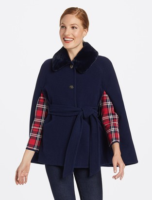 Draper James Faux Fur Collar Cape