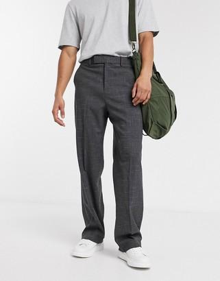 Hatch ASOS DESIGN wide leg smart trousers in charcoal cross