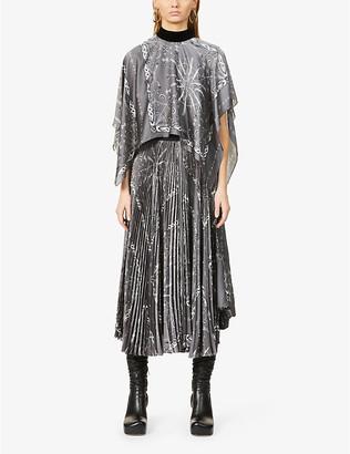 Sacai Graphic-print satin maxi dress
