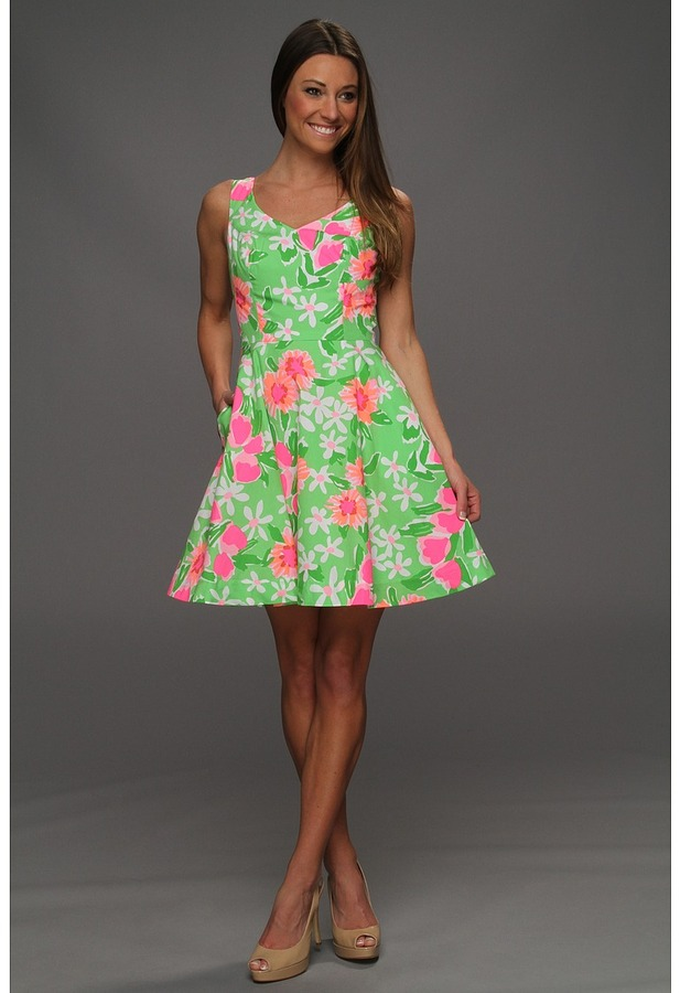 Lilly Pulitzer Freja Dress (Fiesta Pink Everything Nice Small) - Apparel