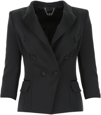 Elisabetta Franchi Cropped Sleeve Tuxedo Jacket