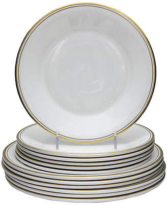 One Kings Lane Vintage Midcentury Royal Doulton Plates - 12 Pcs - Rose Victoria - white/gold