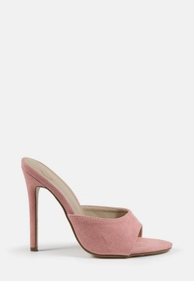 Missguided Blush Faux Suede Round Toe Heeled Mules