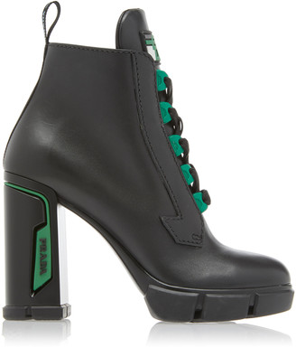 Prada Tronchetti Leather Ankle Boots