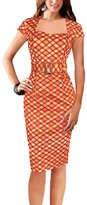 REPHYLLIS Women Square-Neck Houndstooth Business Cocktail Party Bodycon Dress M