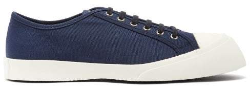 Marni Exaggerated Sole Low Top Canvas Trainers - Mens - Navy