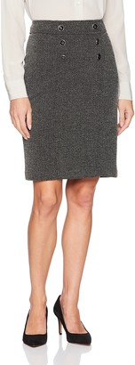 Kasper Women's Knit Herringbone Button Front Skirt