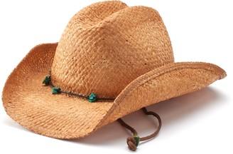 Scala Women's Raffia Western Cowboy Hat with Chin Cord