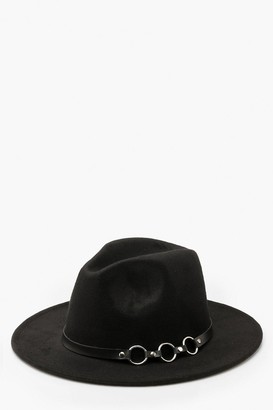 boohoo Ring Detail Fedora Hat