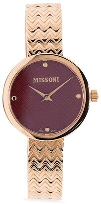 Missoni Embossed Chevron-Strap Watch