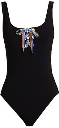 Karla Colletto Swim Odette Rainbow Lace-Up One-Piece Swimsuit