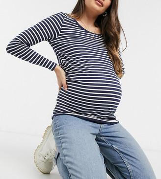 New Look Maternity long sleeve t-shirt in navy stripe