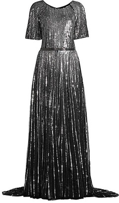 Mac Duggal Butterfly-Sleeve Vertical Sequin A-Line Gown