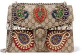 Gucci Dionysus Medium Appliquéd Embellished Coated-canvas And Snake Shoulder Bag - Beige