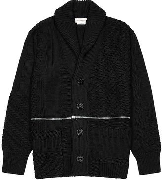 Alexander McQueen Black Zip-embellished Wool Cardigan