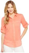 Calvin Klein Roll Sleeve Button Front Women's Blouse