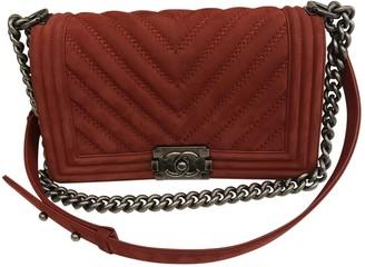 Chanel Boy Red Suede Handbags