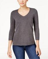 Karen Scott Petite Luxsoft V-Neck Sweater, Only at Macy's