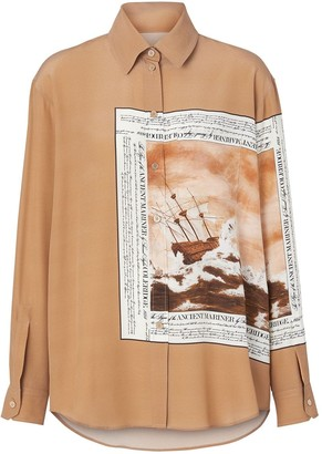 Burberry Montage Print Silk Oversized Shirt